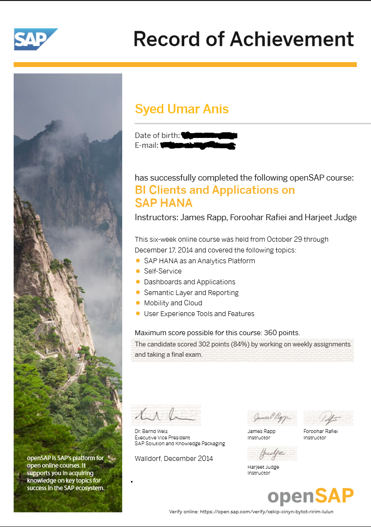 BI Clients and Applications - Record of Accomplishment